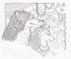 Aztec wolves by Ookamiko