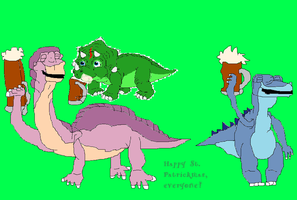 St. Patrickmas with Littlefoot, Chomper and Sparky by TheSkull31
