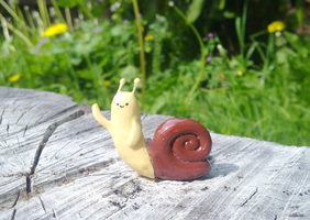 Polymer Clay : Adventure Time Waving snail by CraftCandies