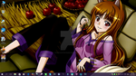 Spice and Wolf Autumn Desktop by PharaohAtisLioness