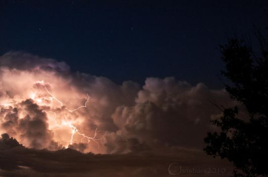 Lightning, on a moonlit night by Christian1776