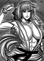 Street Fighter Ken Genderbend-Kendra (INK Sketch) by JassyCoCo