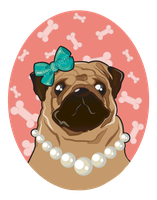 Posh Pug Portrait by ponychops