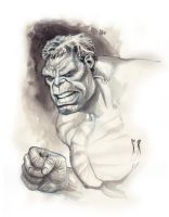 Hulk Bust ( ink wash ) by StephaneRoux