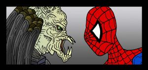 Spidey VS Predator by Lordwormm