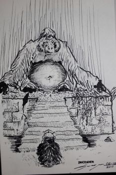Inktober02- the budda and the prince by ledmed