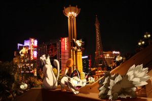 Wild Persian w/Meowth encounter Zigzagoon in Vegas by Ninja-Jamal