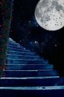 Moonlight Stairs Premade Background by SusanaDS-Stocks