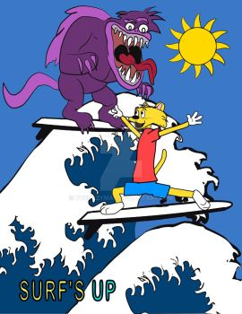 Surfing Cat Chased by Monster by tvcrazyman