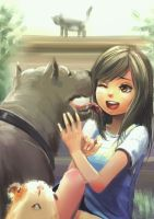 Girl and Pets by NickBeja