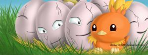 Pokemon: Torchic and Exeggcute by o0NeonCola0o