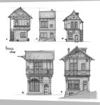Medieval Houses - sketches by Rhynn