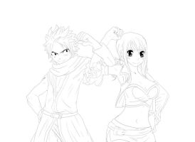NaLu Movie Lineart by SasuNaru-69-niki