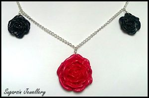 Triple rose Necklace by SugarsinJewellery