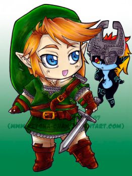 Link and Midna - Chibi by KeyshaKitty