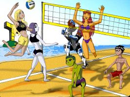 teen titans beach volleyball by gsomuano