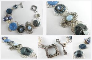 Silver Vintage Blue Button Filigree Bracelet by DryGulchJewelry