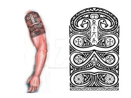 Sarmatian shoulder-arm tribal tattoo by thehoundofulster
