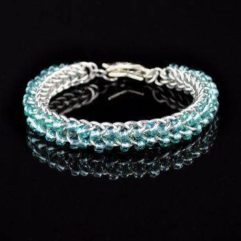 Beaded Chainmaille Cuff Bracelet by crazed-fangirl