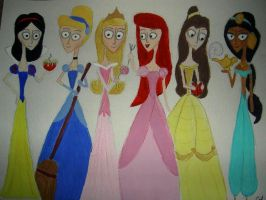 Burton-style Disney Princesses by TheWhiteSwan