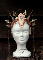 Hands of time-Clock skull headpiece by Fairytas