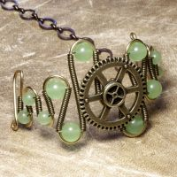 Green steampunk Bracelet by CatherinetteRings
