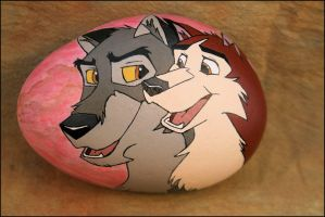 Handpainted Balto Kodi Stone Art by illuminatedface