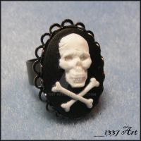Skull Cameo Cocktail Ring by 1337-Art