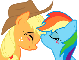Applejack and Rainbow Dash: sweet kiss by KennyKlent