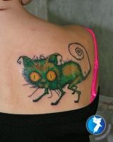 Crazy Cat Tattoo by xandervoron