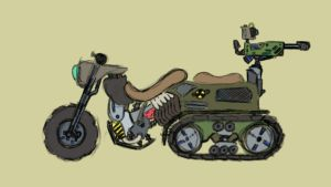 Weird futuristic nuclear motorcycle by WhoovesPON3