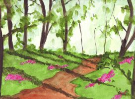 Watercolor Free hand: Walk in the woods by Roseprincess1
