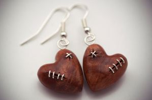 Stitched Heart Earrings by back2root