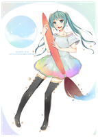 Rainbow Miku by UselessFoxSai