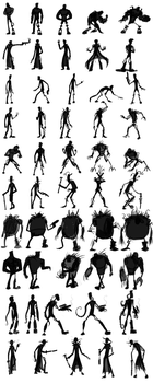 Cyborg Character Design Silhouettes by captainslam