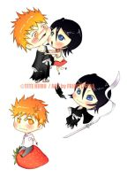 chibis:ichigo y rukia by friditititaa