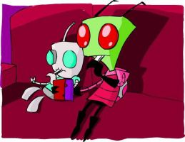 Zim and Gir sitting by dragonfire1000