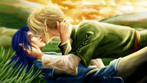 -First Kiss- San and Link by Alrynnas