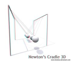 Newton's cradle 3d  Anagplyph by MTolotos