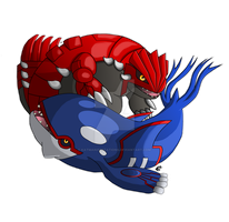 Groudon and Kyogre by KatManifestations
