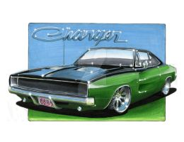 1968 Dodge Charger RT Custom by Classic-Art-by-JP