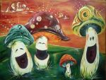 happy shrooms by PaintingCleverly