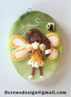 OOAK Buttercup and the Bee Pendant by Skyelark