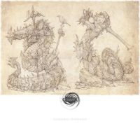 Guerriers Ophidiens (print) by FireIndustries