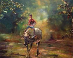 Water Buffalo and Young Boy Rider by j0rosa