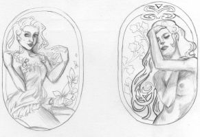 Art Nouveau Tattoo sketches by Mize-meow