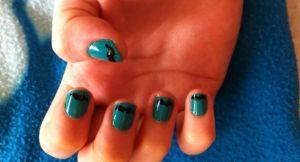 Sky Blue Nails with Black Moustache Nail Art by inginging