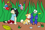 Aika, Kumi, and the Pikmin by XfangheartX