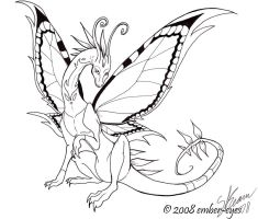 Butterfly Dragon Line Art by Ember-Eyes