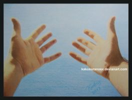 Colored Pencil Drawing - Hands Open by Kostas by kakosuranosx